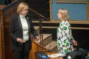 Minister of Labour Tuula Haatainen and Minister of Social Affairs and Health Aino-Kaisa Pekonen and might have come into contact on Tuesday with someone suspected of having coronavirus. Kuva: Mauri Ratilainen